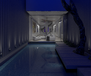 Indoor space design with v-ray
